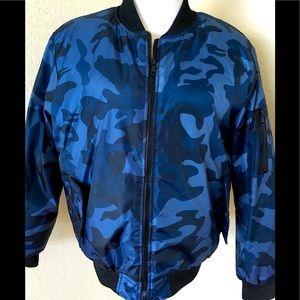 Camouflage jacket urban style puffer jacket blue